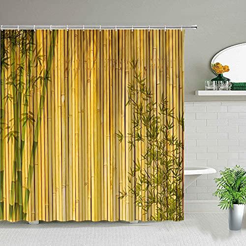 Cortina de Ducha de bambú Verde de Estilo Chino, patrón de Grano de Madera, Concha de Estrella de mar, baño, Tela Impermeable, Pantalla de baño S.8 90x180cm
