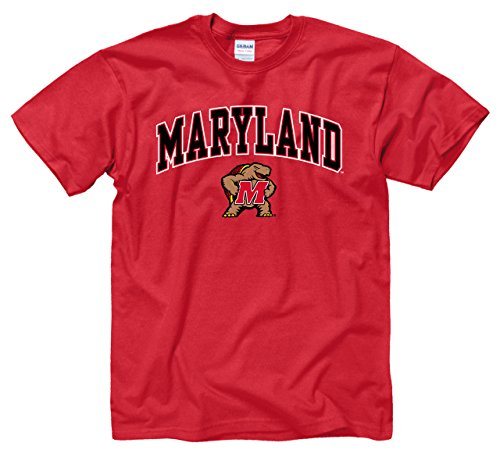 Campus Colors NCAA Adult Arch & Logo Soft Style Gameday T-Shirt (Maryland Terrapins - Red, XX-Large)