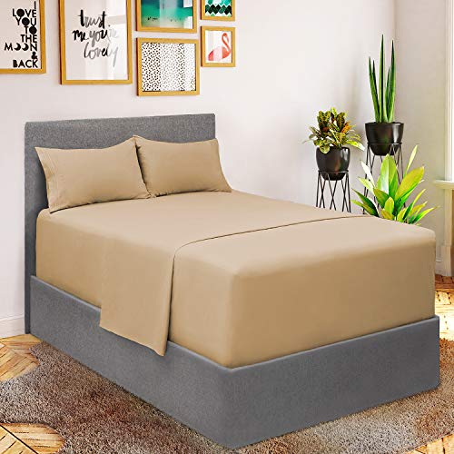 Mellanni Bed Sheet Set - Brushed Microfiber 1800 Bedding - Wrinkle, Fade, Stain Resistant - 4 Piece (for Extra Deep Mattresses, King, Gray)