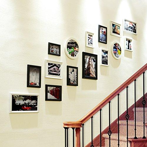 QX IAIZI 15 Pack mehrere Bilderrahmen-Sets, Stairway Wandrahmen, große Bilderrahmen Wandabdeckung, Beste Wanddekoration (Farbe : A)