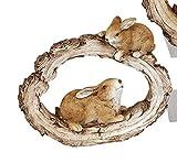 dekojohnson Deko-Hase Osterhase Zwei Hasen auf Baumstumpf Gartenfigur Gartendeko Osterdeko Osterfest braun liegend 17x20cm Langohr Kaninchen