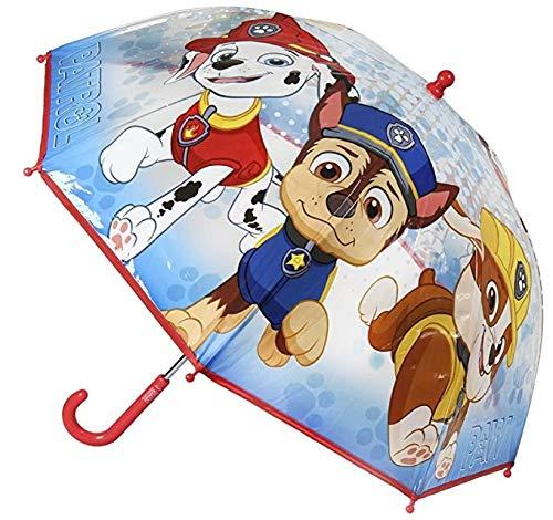 Ombrello da Pioggia Multicolore unisex a campana per bambini (Paw Patrol Rosso)