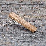 Oak Wood Tie Clip. Wooden tie bar. Custom personalized initial monogram tie clips. Natural wood Engraved jewelry for men. Wedding groomsmen groom gift. Boyfriend boss personal gift.
