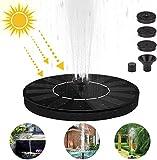 Etmury Solarbrunnenpumpe, 1W Circle Solar Springbrunnen für Teich, Vogelbad, Brunnen, Gartendekoration, Wasserkreislauf, Teich, Aquarium, Pool, Wasser Radfahren (Schwarz)