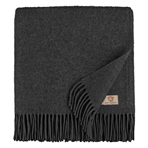 Linen & Cotton Weiche Warme Decke Wolldecke Wohndecke Kuscheldecke Columbus - 100% Reine Neuseeland Wolle, Anthrazit/Grau (140 x 200 cm), Sofadecke/Tagesdecke/Überwurf/Blanket/Plaid Schurwolle