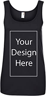 Ladies Add Your Own Text and Design Custom Personalized Sleeveless Tank Tops