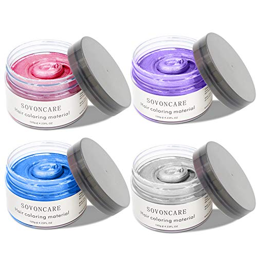 SOVONCARE 4 Color Temporary Hair Wax Pink Blue Green White 4 in One Set Natural Hair Dye for Men Woman and Kids