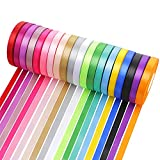 Satin Ribbon for Gift Wrapping 2/5 Inch Wide 20 Colors 600 Yards Making Crafts Sewing Party Wedding Decoration