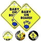 EMAGEREN 2 Pezzi Adesivi Baby per Macchina, Bimbo a Bordo Baby on Board Sign con Ventosa, Baby On Board, Precauzioni per Autista, Nessuna dissolvenza, Riflettente, Rimovibile