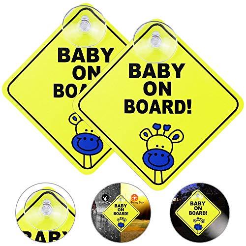 EMAGEREN 2 Stücke Baby an Board Aufkleber Auto Aufkleber Reflektierende Magnetische Auto Aufkleber Sicherheit Vorsicht Zeichen Kindersicherheit-Autoschild Mit Saugnapf für Neue Eltern und Baby