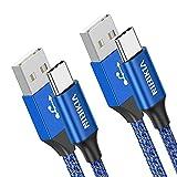 NIBIKIA Cable USB Tipo C, 2Pack [ 2M+2M ] 3A Cargador Tipo C Nylon Carga...