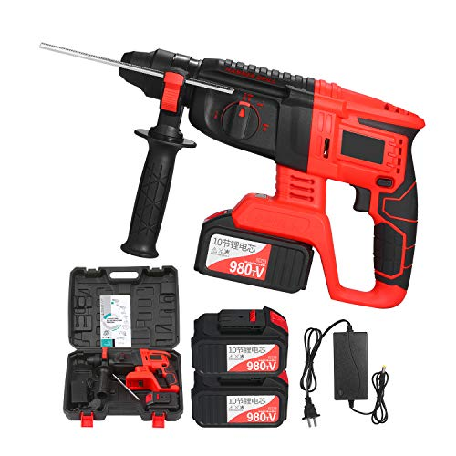 Kedelak 21V Brushless Cordless Rotary Hammer Drill 1 Inch SDS Plus Variable Speed Impact Hammer Kit 2x20000mAh Battery 4 Functions Variable-Speed Adjustable Handle with Storage Case