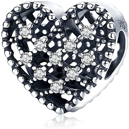 NINGAN Abalorios Charms Colgantes de Encanto amor corazon Cuentas Plata de Ley 925 con Compatible con Pulsera Pandora & Europeo, Charms para Mujer Niña S542