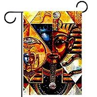 ガーデンヤードフラッグ両面 /12x18in/ ポリエステルウェルカムハウス旗バナー,エジプトの抽象的なピラミッド