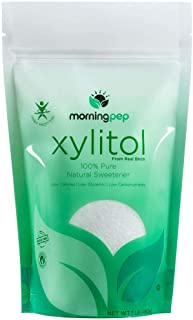 Morning Pep Pure Birch Xylitol (Keto Diet Friendly) Sweetener with no Aftertaste 1 LBs (Not from Corn) Non GMO Kosher Glut...