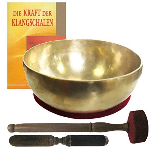Therapie KLANGSCHALE ca. 900-1000g Handarbeit Nepal 5-tlg Klangmassage SET. GELENKSCHALE UNIVERSALSCHALE + Buch + 2 x Klöppel + ZUBEHÖR. 70205