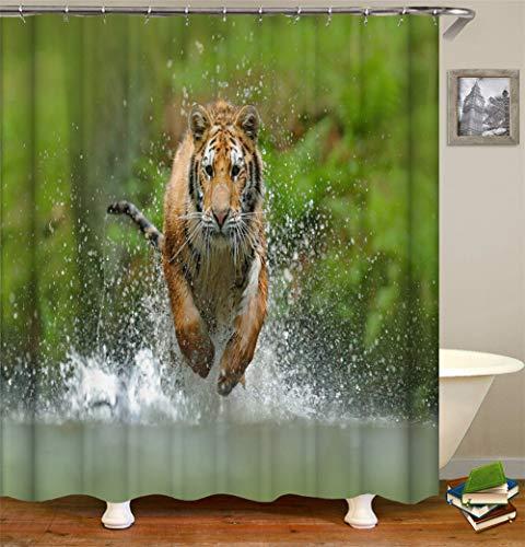 ZZZdz Tiger Rennt. water. Douchegordijn. 180 x 180 cm. 12 vrije haken. Huisdecoratie. 3D Hd-druk. Eenvoudig te reinigen. Badkameraccessoires.