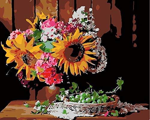 BUFUXINGMA Pintar por Números Kits Pintura por Números para Adultos Niños para La Decoración del Hogar DIY Conjunto Completo de Pinturas, UVA de Flor de Sol 16 * 20 Pulgadas Marco de Madera