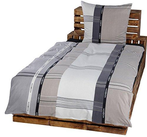 2tlg Winter Bettwäsche Set Fleece Microfaser 135 x 200 cm + 80 cm x 80 cm NEU Streifen Weiß Grau Taupe