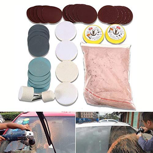 Kit de pulido de vidrio, juego de eliminación de arañazos, almohadilla de pulido de óxido de cerio para polvo de fieltro, rueda de pulido/almohadilla de pulido/disco abrasivo para parabrisas de vidrio