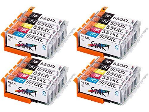 Start – 20 XL Tintenpatronen kompatibel zu Canon PGI-550BK XL Schwarz, CLI-551BK XL Foto-Schwarz, CLI-551C XL Cyan, CLI-551M XL Magenta, CLI-551Y XL Gelb für Canon Pixma iP7250, iP8750, iX6850, MG5450, MG5550, MG6350, MG6450, MG7150, MX725, MX925