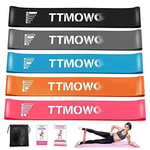 TTMOW Widerstandsbänder - [5er Set] 100{8749984a51928a43ed7a9a4ed8416f47fbb6b1b7ec73cdcc70acad9f829c567e} Naturlatex Fitnessbänder eignet Sich für Muskeltraining, Pilates Yoga,Produktpaket mit Resistance Bands Anleitung & Tragebeutel - Theraband mit 5-Stärken (A)
