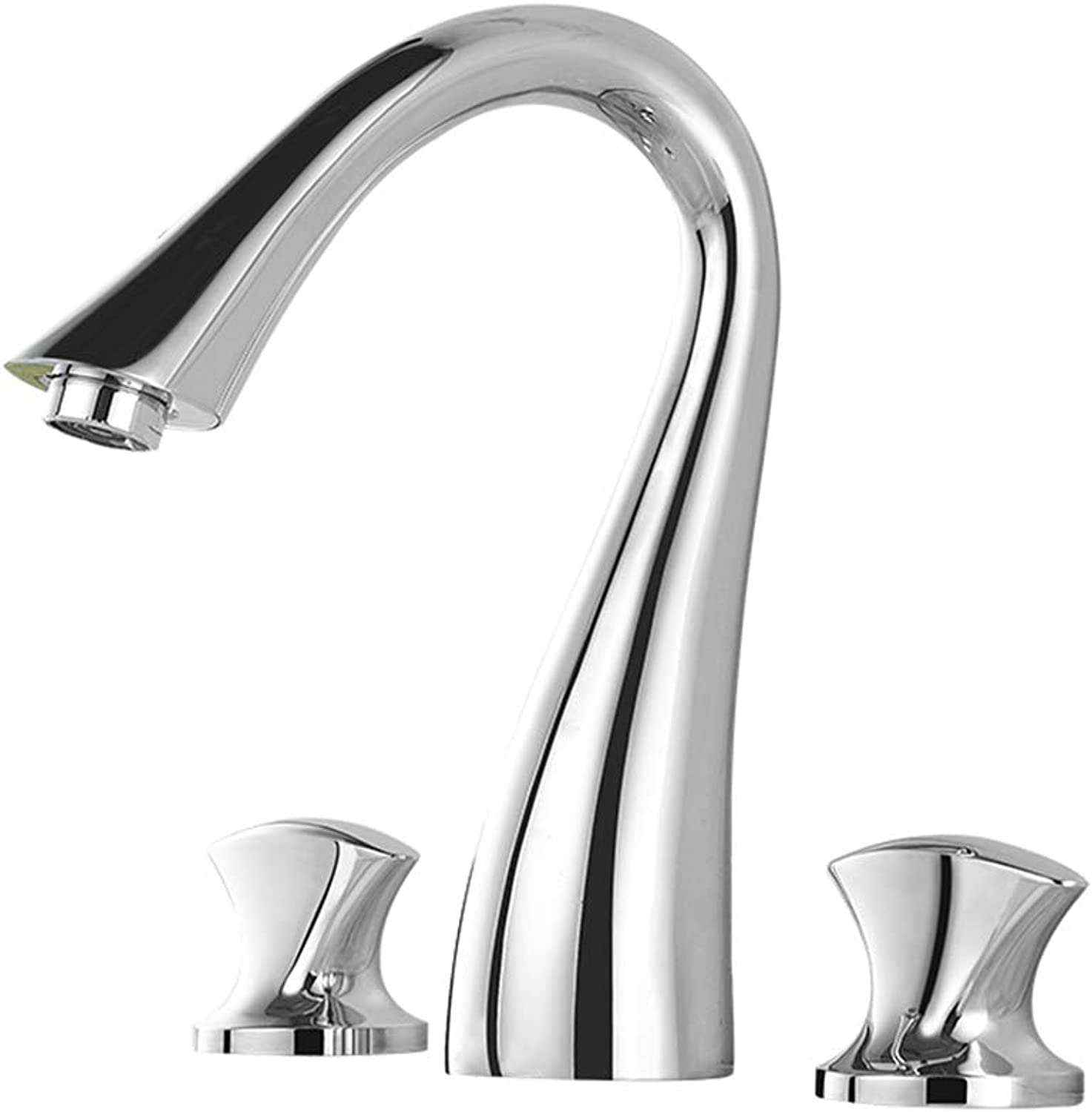 All-Copper Double-Hole Basin Hot And Cold Water Faucet, Three-Piece Bathroom Set, Double-Piece Split Three-Hole Washbasin Sink Faucet