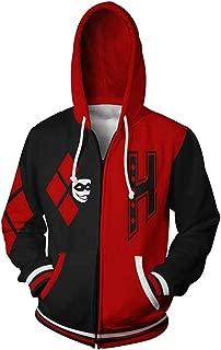 HPY Cosplay Hoodie Costume The Joker Sweatshirt Harley Quinn Jacket Christmas Halloween, S-3XL