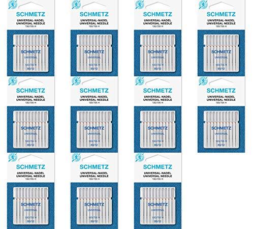 Agujas para Máquina de Coser Schmetz - Universal (Regular / Ordinario), Tamaño: 80/12 - Paquetes de 10: 11 Paquetes por el Precio de 8 - Bulk Descuento Deals para Gran Ahorro - hasta 30 Agujas GRATIS
