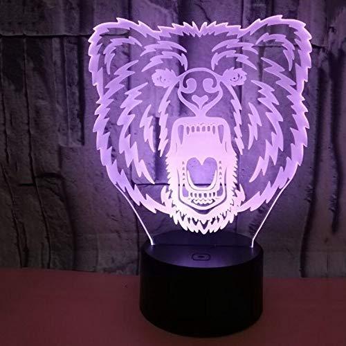 HHR 3D nachtlampje, beer kleurrijke touch-afstandsbediening acryl led zichtbaar licht 3D illusie nachtlampje atmosfeer, 3D kleine tafellamp baby slaapkamer decoratie geschenk Touch+remote