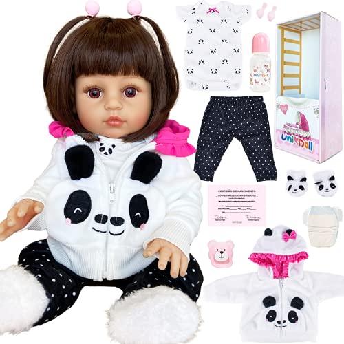 Boneca Bebê Reborn Menina Realista Pandinha Pode Tomar Banho Original UniDoll