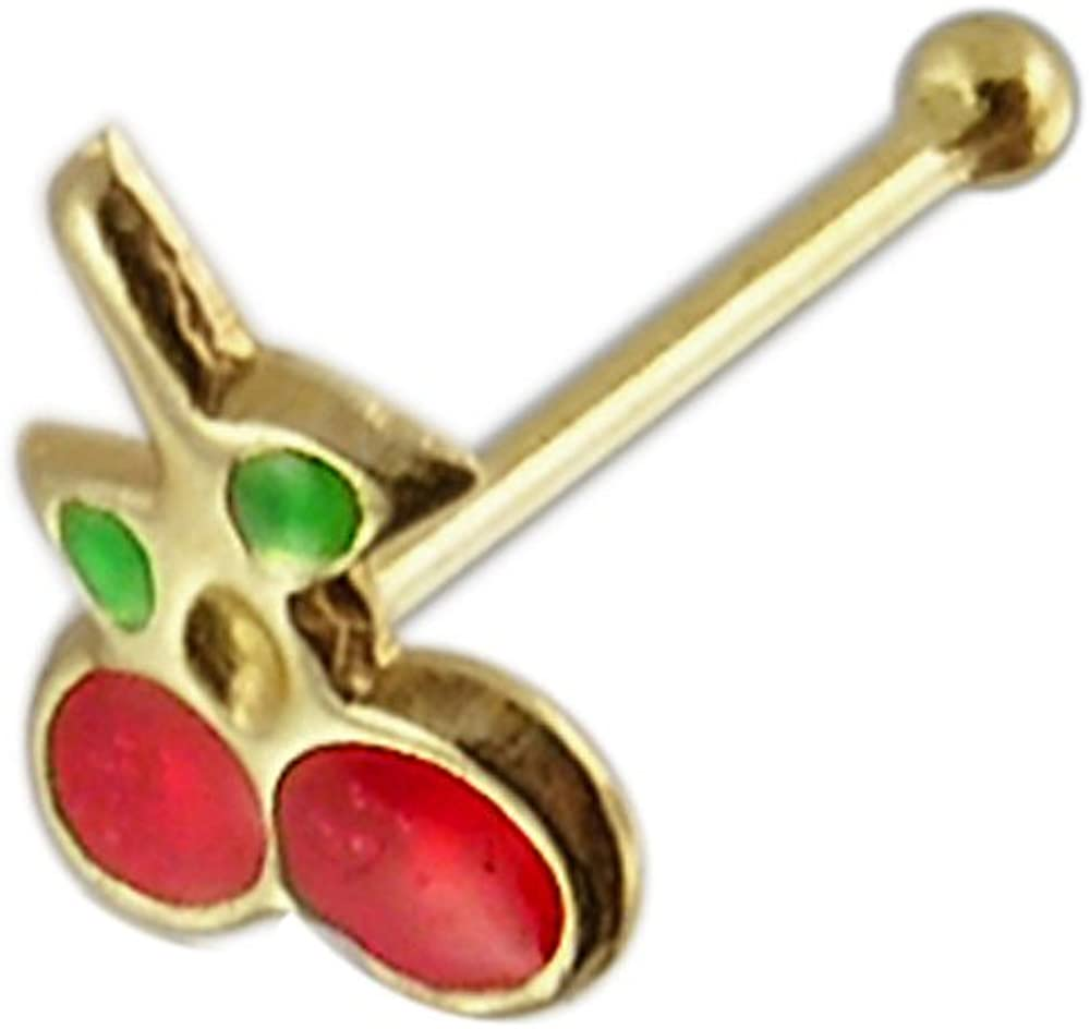 9 Karat Solid Yellow Gold Color Painted Red Cherry 22 Gauge Ball End Nose Stud Piercing Jewelry