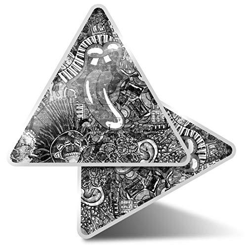 2 pegatinas triangulares de 7,5 cm – BW – Music Graffiti Wall 80's Retro Vintage Fun Calcomanías para ordenadores portátiles, tabletas, equipaje, reserva de chatarra, neveras #42337