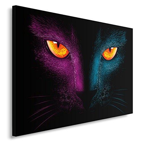 Feeby Retro Cat - DDJVigo Tableau Impression Sur Toile, Taille: 60x40 cm, CHAT NOIR