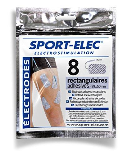 Sport-Elec - Electrodos rectangulares (8 Unidades, 89 x 50 mm), Color Azul...