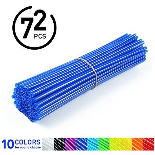 Preisvergleich Produktbild 72Pcs Speichen Skins - Motocross Radabdeckungen,  Dirt Bikes - 10 Farben ( Farbe : Blau )