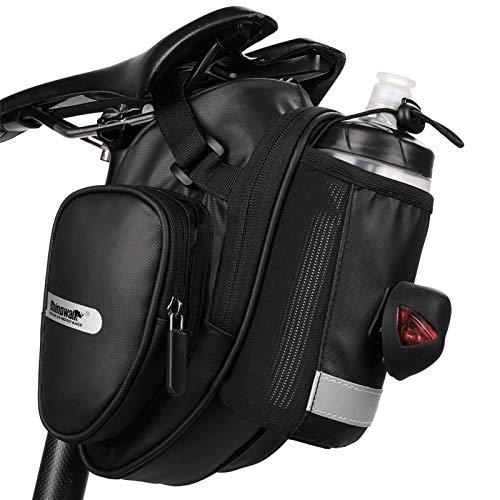 Rhinowalk Bolsa de Sillín Impermeable para MTB Bicicleta Carretera Capacidad Grande con Bolsa para Botella de Agua (Negro)