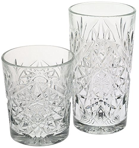Libbey Hobstar 8-Piece Beverage Set,12 Ounce Double Old Fashioned & 16 Ounce Cooler Glasses