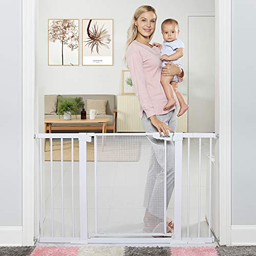 Heele 29.5-51.5 Inches Extra Wide Auto Close Baby Gate w/Metal Mesh Easy Walk Thru Swing Door,Child Gates for Stair Doorway Kitchen,Indoor Safety Gate for Kids or Pets Pressure/Hardware Mounted