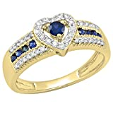Dazzlingrock Collection Round Blue Sapphire & White Diamond Bridal Heart Promise Engagement Ring, 18K Yellow Gold, Size 7
