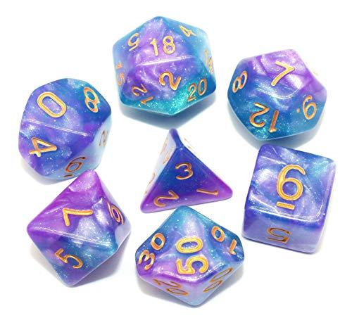 DND Würfel Polyedrische Würfel Set für Dungeons and Dragons Pathfinder Dice RPG Rollenspiel Tisch Spiel Würfel mit Glitzer (Blau Lila)
