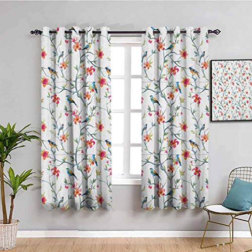 SONGDAYONE Watercolor Blackout Curtain Panels Window, Curtains 72 inch length Birds on Branches with Flowers and Leaves Scenes from Nature Cherry Tree Image Cafe curtain Multicolor W72 x L72 Inch