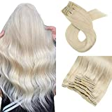 Moresoo 22 Pouces Remy Huamn Hair Extensions Cheveux Blond Platine #60 Extension a Clip Cheveux Straight Clip Extension Cheveux Blond 7 Pieces 100 Gramme Extension Clip Bresilien