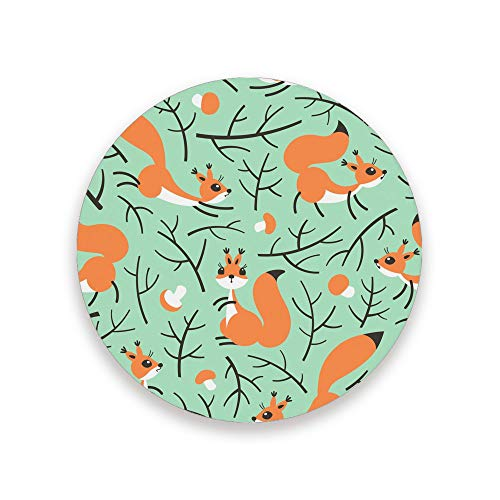 Lafle bedruckte runde Keramikuntersetzer mit Kork-Rückseite Eichhörnchen im Wald Kaffeetasse Untersetzer 10 cm 3,9 x 0,2 inch, Untersetzer aus Keramik und Holz, mehrfarbig, 3.9 inch x 0.2 inch x 4