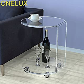 ONELUX Waterfall Acrylic C Table,Lucite Occasional Side Tea Table On Wheels (Clear)