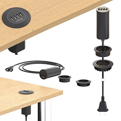Urcover Einbau USB Hub 4X I USB Output 2.4A [Fast Charging] I Tisch-Steckdose in Schwarz