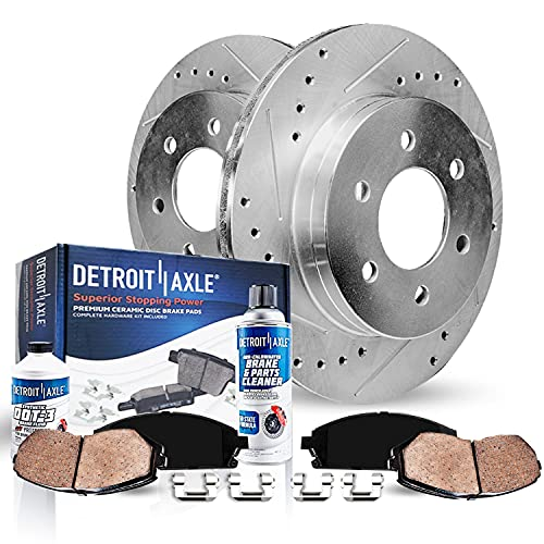 Detroit Axle - Front Drilled Slotted Rotors +...