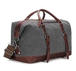 BAOSHA HB-14 Vintage Segeltuch Canvas PU Leder Unisex Handgepäck Reisetasche Sporttasche Weekender Tasche für Kurze Reise am Wochenend Urlaub Arbeitstasche 40 Liter Aktualisiert (Grau)