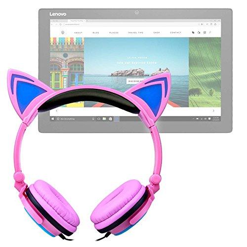 DURAGADGET Auriculares Plegables de Gato en Rosa para ASUS Transformer Pro T304, ZenPad 3S 10 LTE/DELL Latitude 5285, 7285 / Lenovo Miix 720, X1 (2017), Yoga Book 12.2'