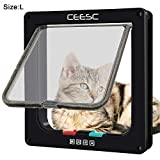 CEESC Cat Flap Door Magnetic Pet Door With 4 Way Lock for Cats, Kitties and Kittens, 3 Sizes and 2 Colors Options (L: 9.25